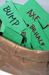 BUMP! A Spelling Game -- Students usually study for spelling tests by looking over the words and spelling them out loud. Here's a spelling game that gets the whole family involved! What You Need: Paper, Pencil, Small brown paper bag