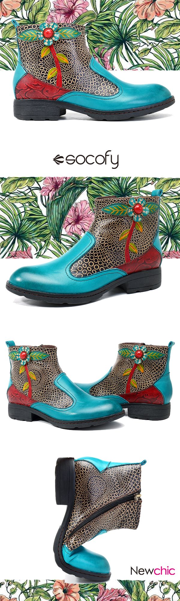 US$58.67  SOCOFY New Printing Retro Splicing Pattern Flat Ankle Leather Boots