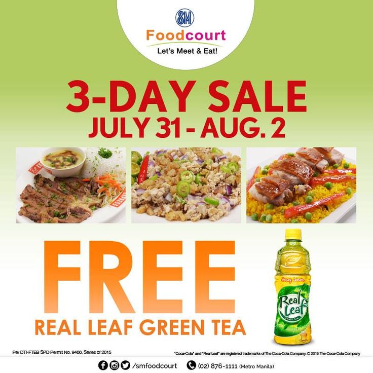 #PromoAlert: 3-Day Sale is here again! Visit SM Foodcourt on July 31 - August 2 to get a free 480ml Real Leaf for a minimum purchase of P150. Just present your receipt at the Beerstation to claim the freebie. See you at the Lower Ground Floor SM Foodcourt at SM CITY STA. MESA!   #LetsMeetAndEat #iLoveSM #iLoveSMStaMesa #EverythingsHere #SM3DaySale  #SMStaMesa3DaySale #SMEvents #SMStaMesaEvents #SMFunday SM Supermalls SM Foodcourt