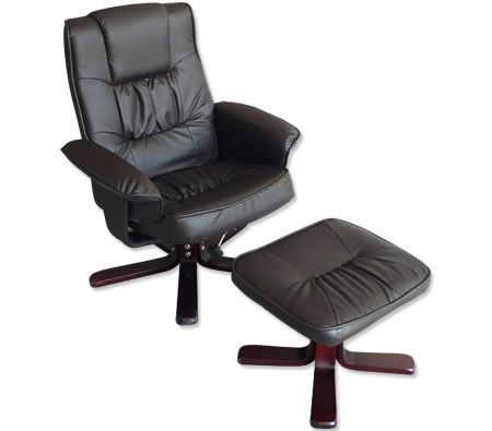 Recliner Chair & Foot Stool - Chocolate Brown Leather Swivel Office Chair