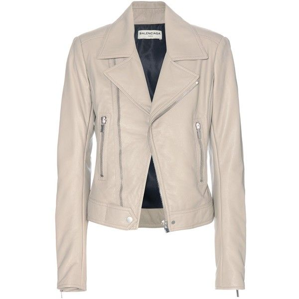 Balenciaga Leather Biker Jacket (66.620 CZK) ❤ liked on Polyvore featuring outerwear, jackets, blazers, coats, balenciaga, beige, real leather jacket, genuine leather jacket, balenciaga jacket and pink moto jacket