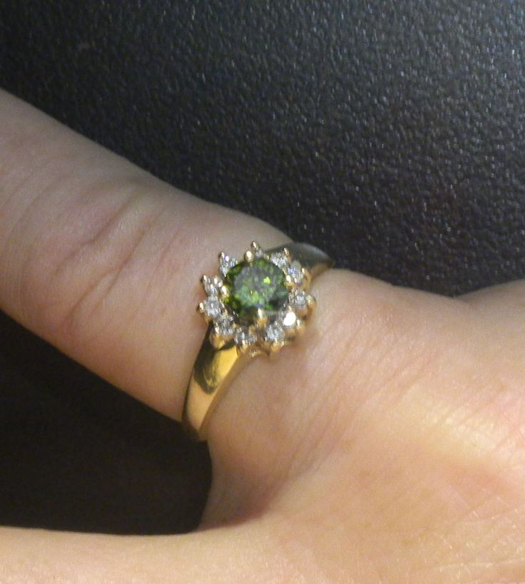 14k Yellow Gold Green & White Diamond Ring Engagement .72 Carats! Size 6. by QueenVicsEstate on Etsy