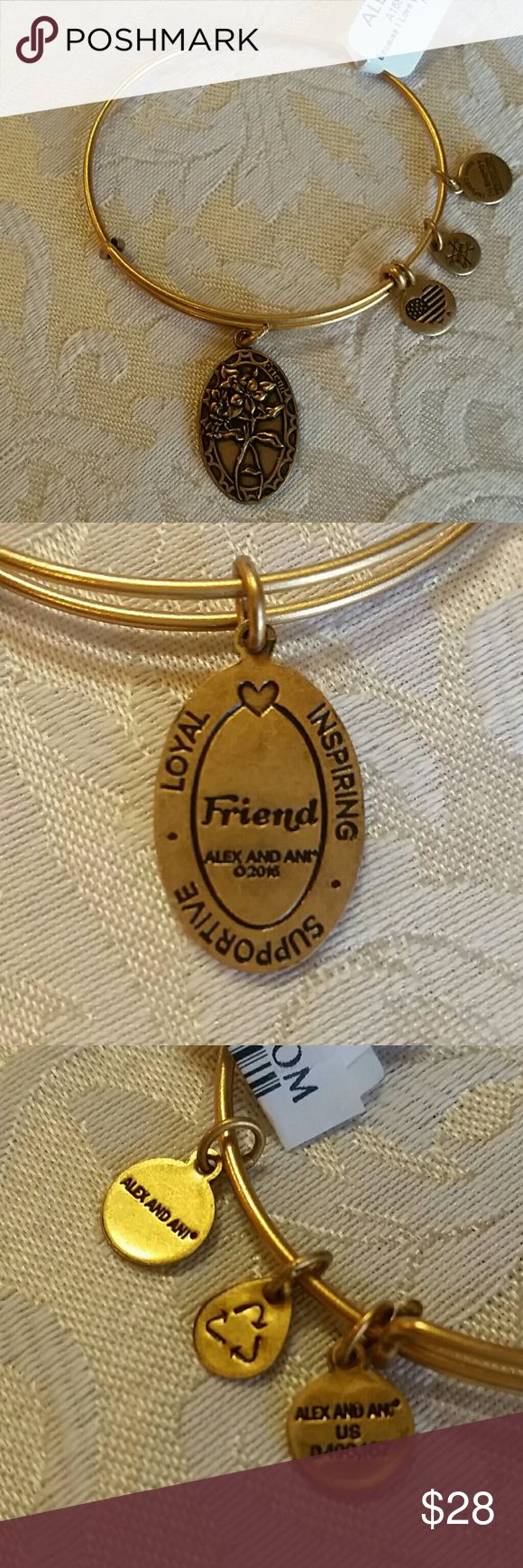 """Alex And Ani Friendship Bracelet Pretty bouquet of flowers on one side and on the other  the word """"Friend"""" in the center surrounded by the words """"LOYAL, INSPIRING, SUPPORTIVE"""".  From Nordstrom, comes with box. Alex And Ani Jewelry Bracelets"""