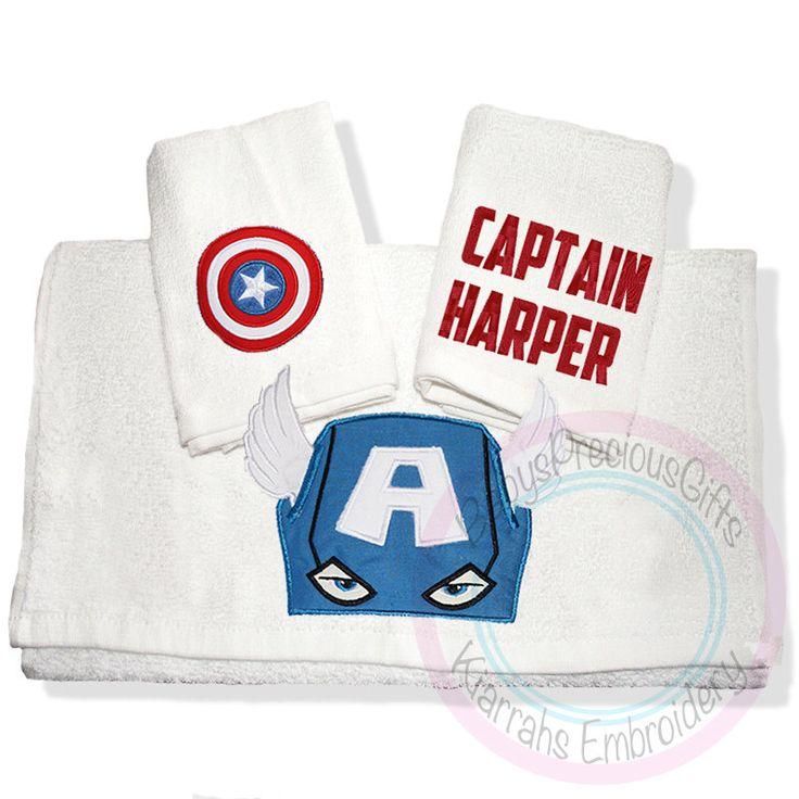 Serviette de toilette Captain America, super héros, personnalises, childrens face à lavage, cadeaux personnalisés pour enfants, cadeaux pour les hommes, bain de mens, super-héros par KiarrahsEmbroidery sur Etsy https://www.etsy.com/fr/listing/232789287/serviette-de-toilette-captain-america
