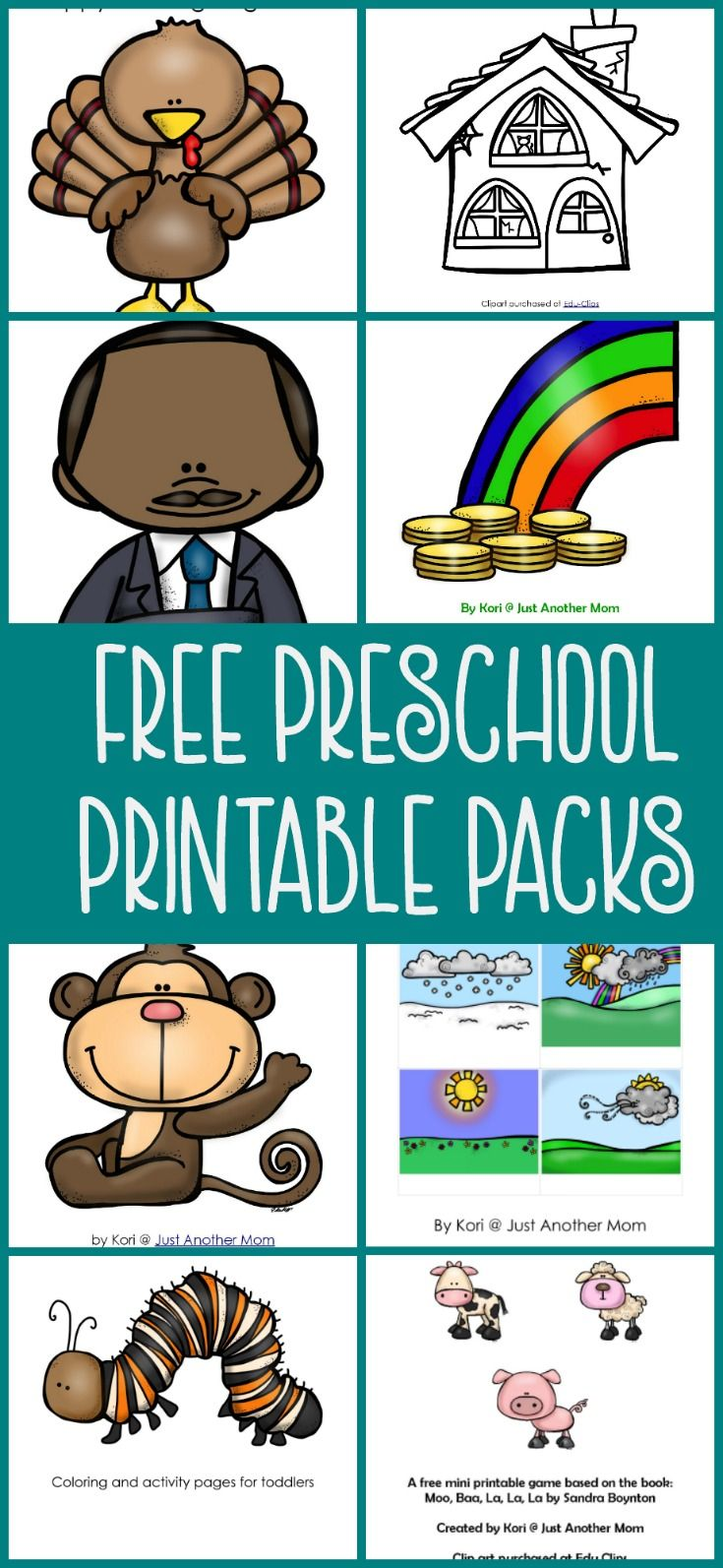 Are you planning to start tot school or preschool at home? Maybe you're in need of some resources for your home daycare? Be sure to check out these free preschool printable packs.