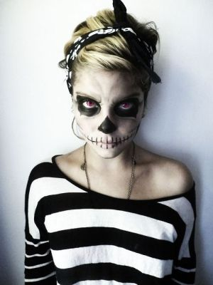 Without the contacts this would actually be a pretty cool Halloween make up idea and all you need is white and black face paint!