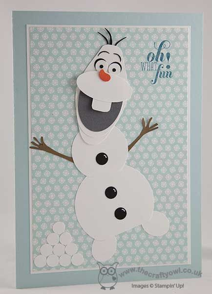 Today I wanted to share with you a fun punch art card that I made for a special little girl for Christmas featuring the adorable snowman Olaf from the Disney movie 'Frozen'. I've made a few of these b