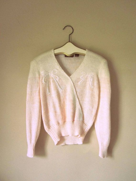 Vintage Luxe Pale Pink Sweater with Bow by CreamColoredPony, $30.00