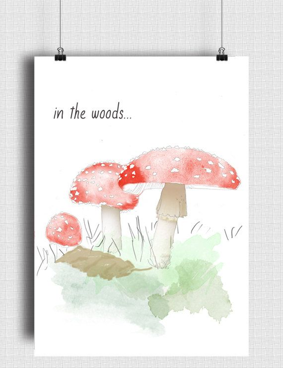 Children's Wall Art /'In the woods' Nursery Print by DesignbyAlexB /Stampa 'In the woods', Poster ad Acquerello per la Nursery  €4.00