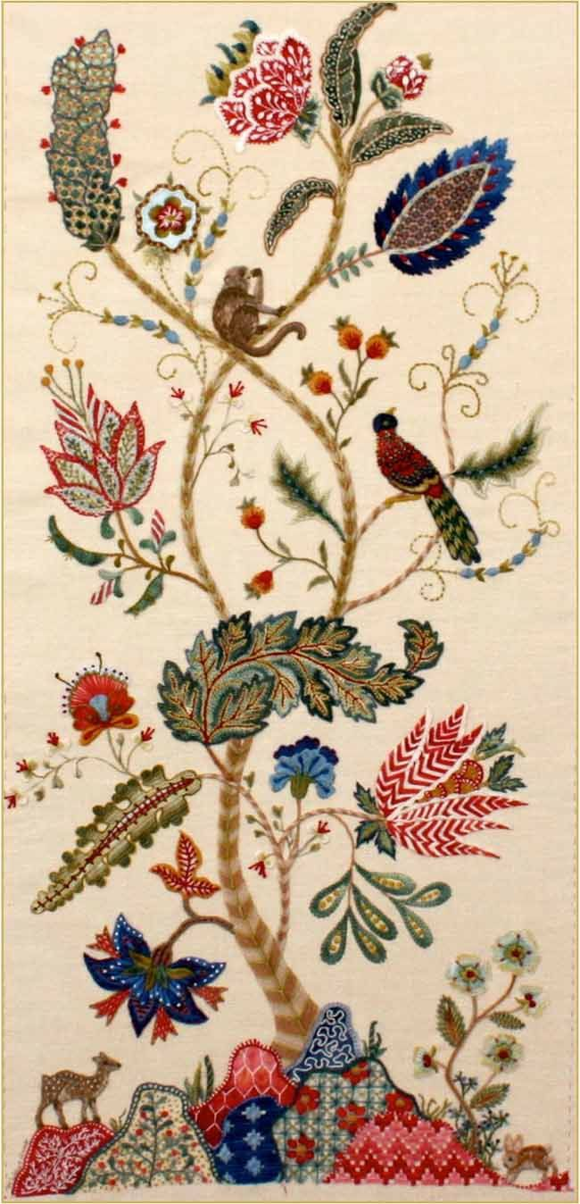 Margaret Light's Tree of Life crewelwork kit ($290) using Appleton's and Gumnut Yarns crewel wools -- class in ?July 2013?