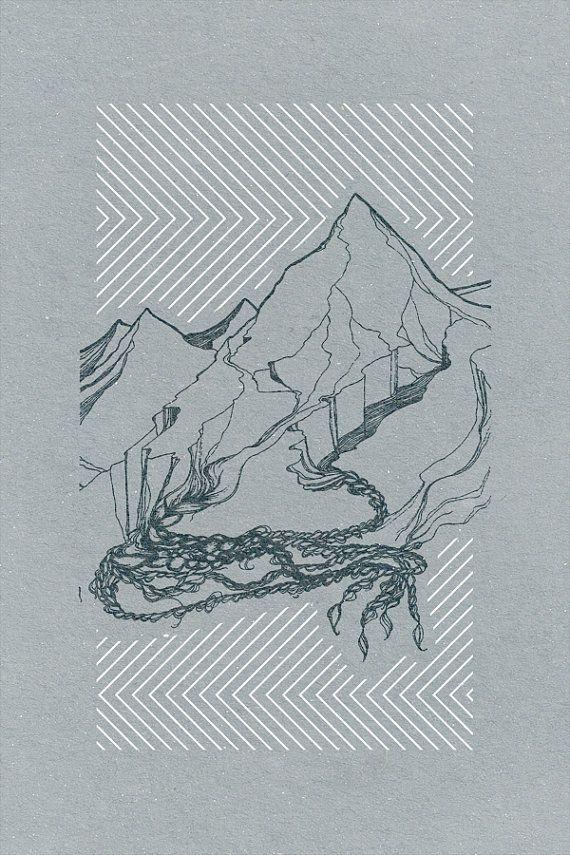 Mountain Landscape Art Print no. 2, 5 x 7'' two color screen print