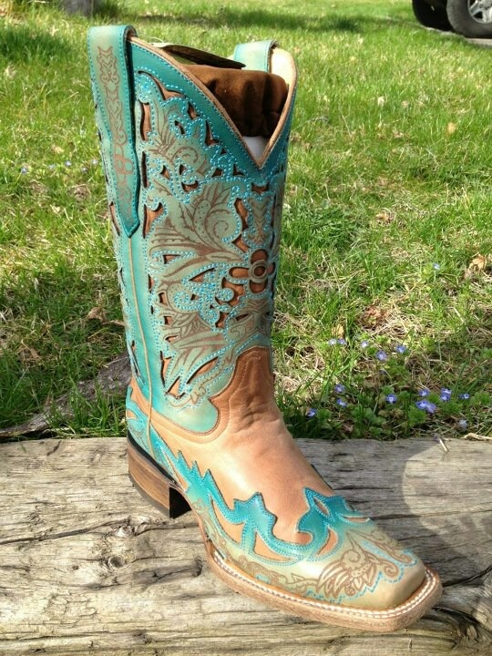 Turquoise and Brown square toed Corral Boots