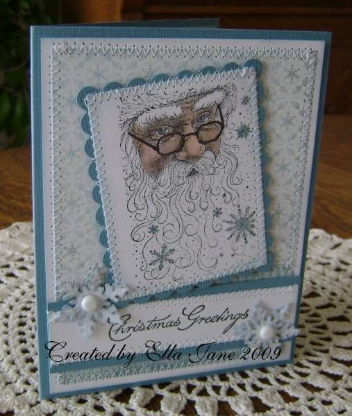 Stitched Santa in Blue by Ella Jane - Cards and Paper Crafts at Splitcoaststampers