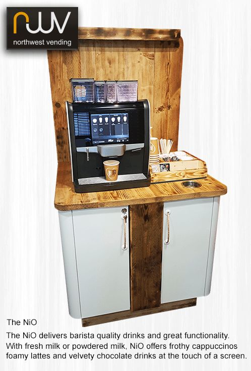 NIO, the stylish and functional super automatic coffee machine, adequate words to describe this very versatile machine. One or two types of fresh bean coffee, one or two grinders, add chocolate and powdered milk options or a four litre fresh milk fridge. Add a payment system and take contactless credit and debit cards or even payments by your mobile phone. Visit www.northwestvending.co.uk for details #NIO. #De Jong Duke #Coffee