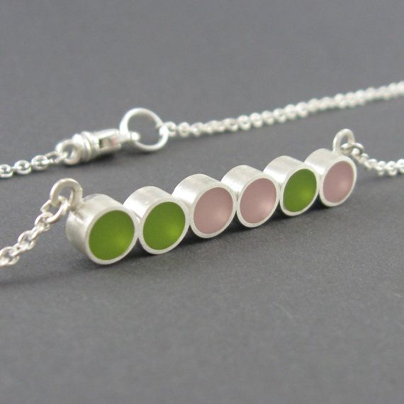Resin silver necklace, green pink pendant, unique necklace, modern minimalist brushed finish