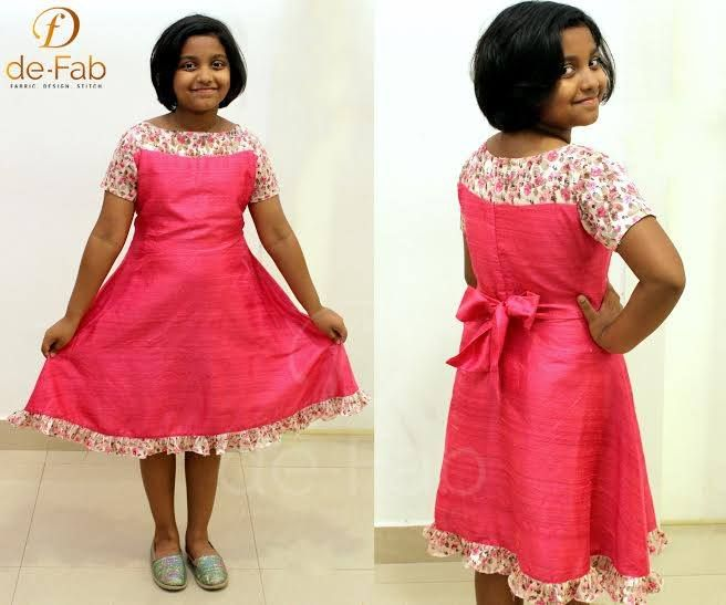 Baby frock with embroidered georgette yoke and raw silk. Total Cost Rs 2550.