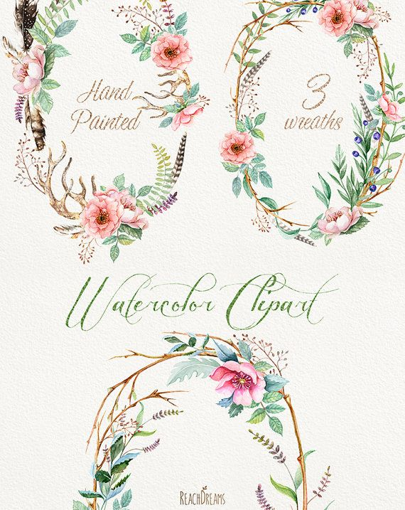 Watercolour Flower wreaths with Floral elements and Feathers. Individual PNG files. Hand Painted  Wedding Clip Art