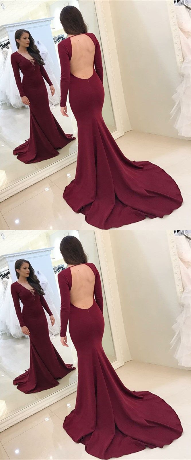 a49264f6e6 Mermaid Deep V-Neck Long Sleeves Backless Sweep Train Burgundy Prom Dress  in 2018