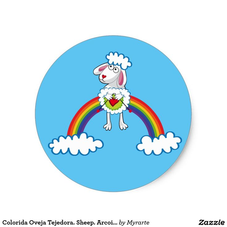 Colorida Oveja Tejedora. Sheep. Arcoiris, rainbow. Producto disponible en tienda Zazzle. Product available in Zazzle store. Regalos, Gifts. Link to product: http://www.zazzle.com/colorida_oveja_tejedora_sheep_arcoiris_rainbow_classic_round_sticker-217233475535678453?CMPN=shareicon&lang=en&social=true&rf=238167879144476949 #sticker #oveja #sheep