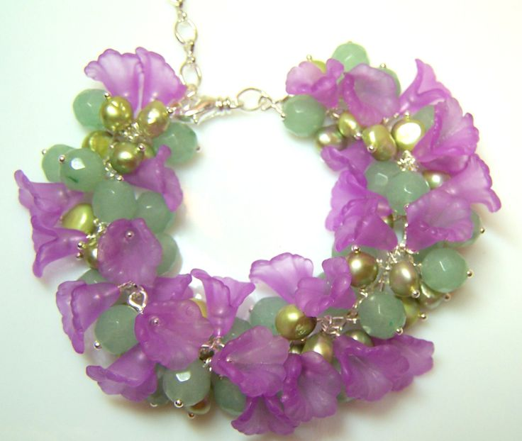 Green Aventurine gemstone, green freshwater pearls and orchid flower cluster bracelet by ShelbyAnnDesigns on Etsy
