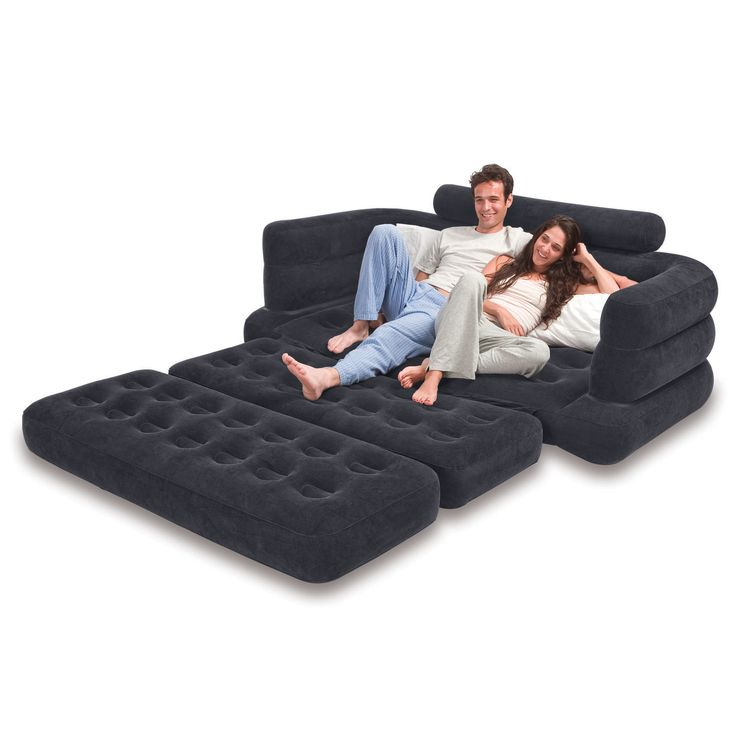 This outdoor pull-out sofa is designed to relaxing anywhere. Whether in the Great Outdoors or hanging out at home, this inflatable pull-out sofa is comfortable and pulls out to reveal a queen size air mattress when you need to sleep.