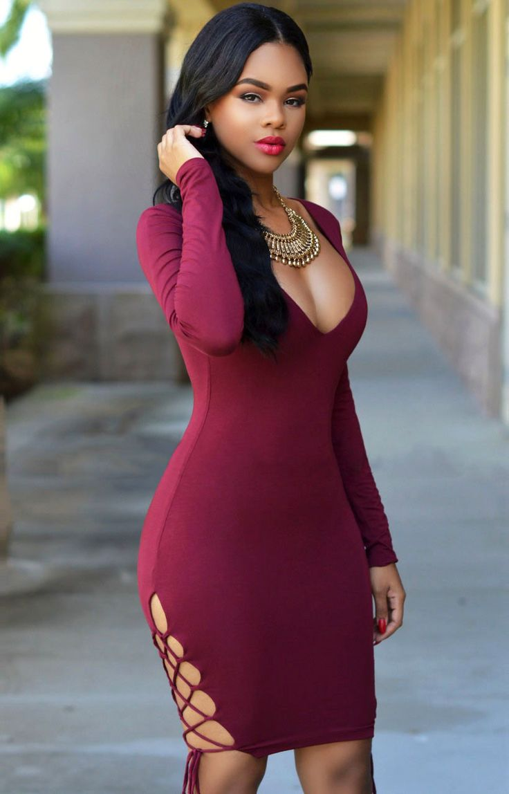 Fall in love with this effortlessly chic dress. You've got the right to show your wonderful figure! Stretchy, long-sleeved, mini-length bodycon dress features a sexy V neckline, alluring low-cut back