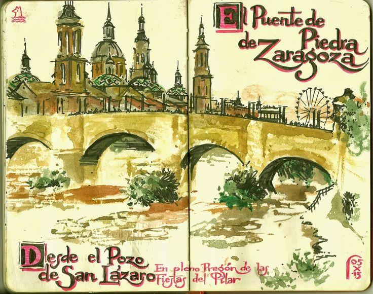 de vuelta con el cuaderno: Cuadernistas reunidos para dibujar en Zaragoza 01
