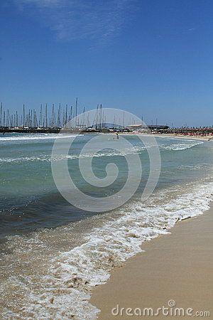 Surf at the beach in the Playa de Palma. Mallorca, Spain