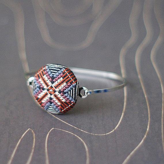 Modern Geometric cross stitch bracelet Swedish by TheWerkShoppe, $38.00