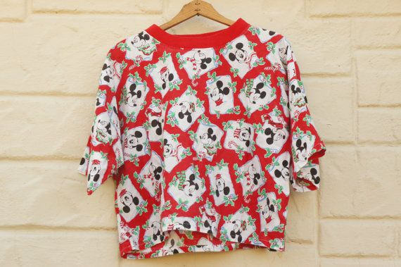 Vintage 80s-90s Cropped Mickey Mouse Christmas by SycamoreVintage