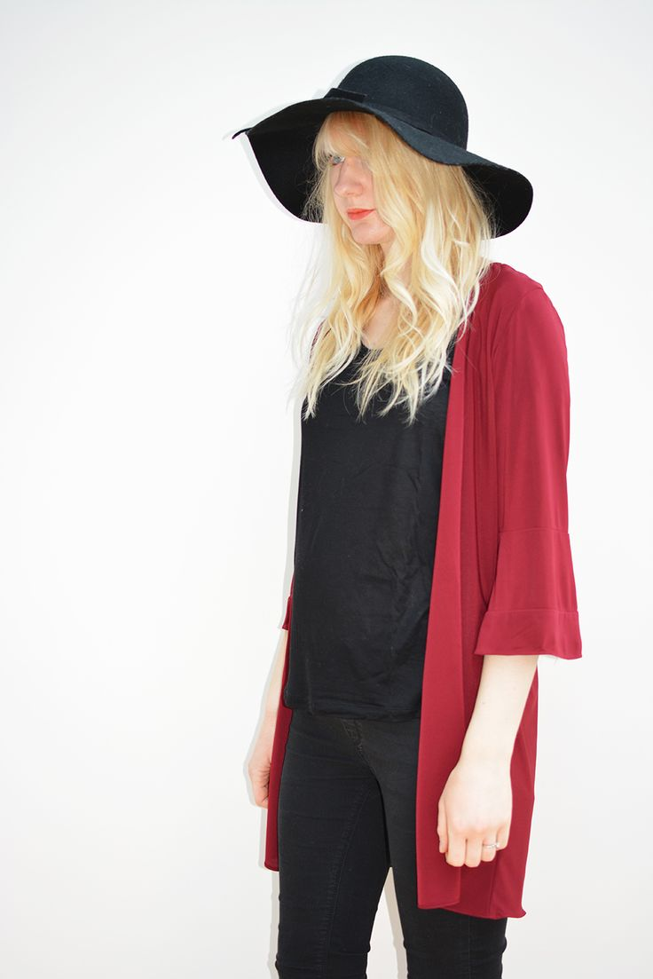 Burgundy jersey longline kimono available in sizes XS-L on www.thewolfflower.com