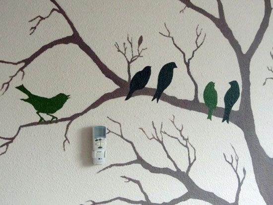 Detail muurschildering boom