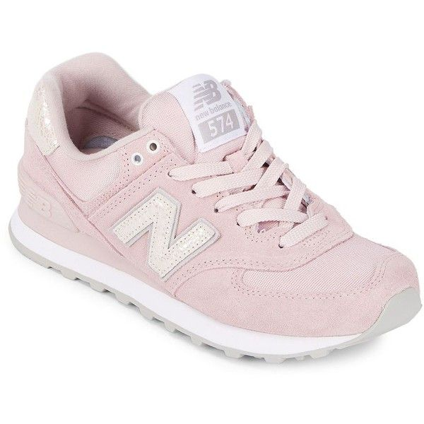 New Balance Women's 574 Suede Athletic Sneakers ($80) ❤ liked on Polyvore featuring shoes, sneakers, pink, pink suede shoes, breathable sneakers, lace up sneakers, new balance trainers and cushioned shoes