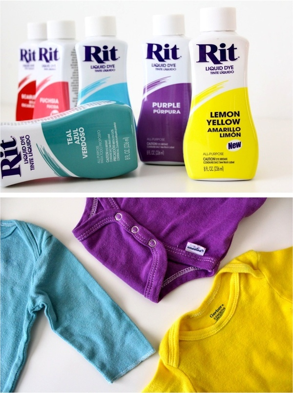 RIT DYE:If you use 1/4 cup salt and 1/4 cup white vinegar the first wash, it will set the colors so they wont fade or bleed during follow up washes. You can do this with red shirts, and new jeans as well. I usually dye several things (usually onsies) the same color and then wash each color on an extra small load by themselves for the first wash -- Good to know for my dyed shirts!