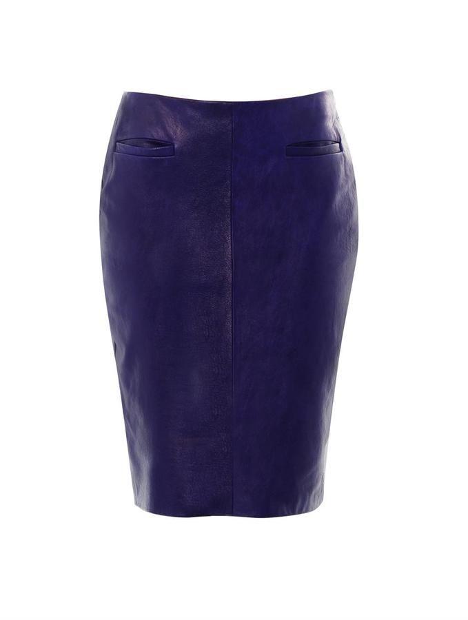 Jupe cuir bleu marine jupe longue crayon   Ambre mariage 23263b629f1b