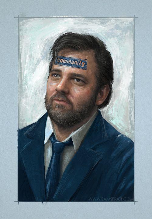 """Dan Harmon IS Community"" by Sam Spratt. #Community: Sam Spratt, Community College, Portrait Illustration, Art, Community Fandom, 6Seasons Amovie, Dan Harmon, Funny People"