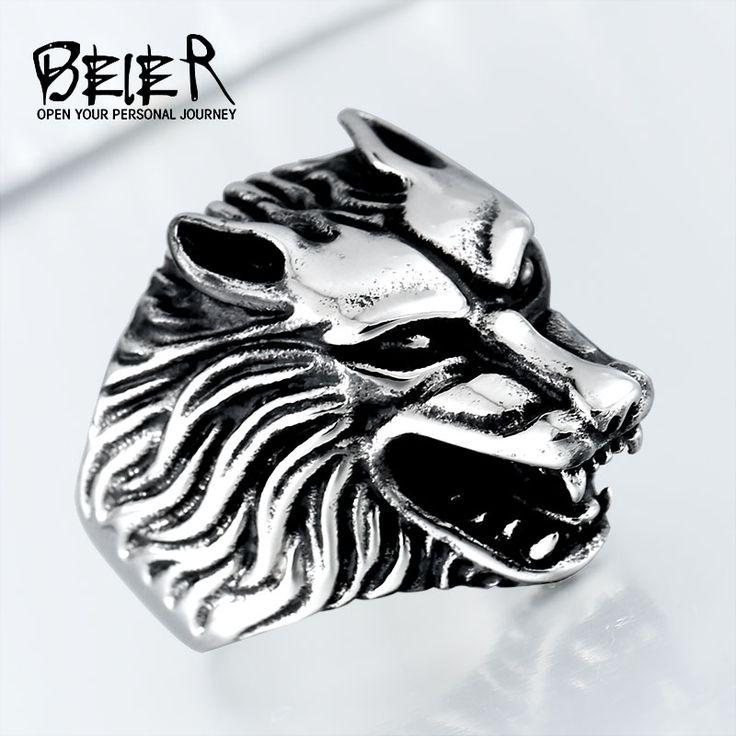 BEIER anillo de moda Nave de La Gota Fresco Lobo Anillos de Hombre de Acero Inoxidable Punky Del Motorista Anillo de Plata/Negro/Oro Color BR8-075 tamaño EE. UU.