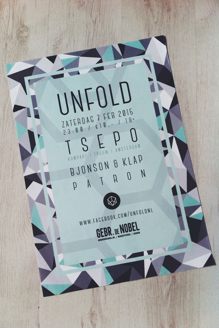 I've created this poster design for UNFOLD, a new party in the Nobel Leiden.