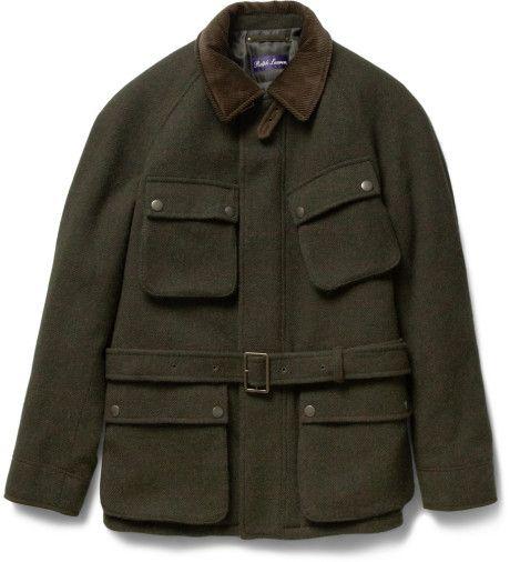 RALPH LAUREN PURPLE LABEL Green Padded Tweed Jacket