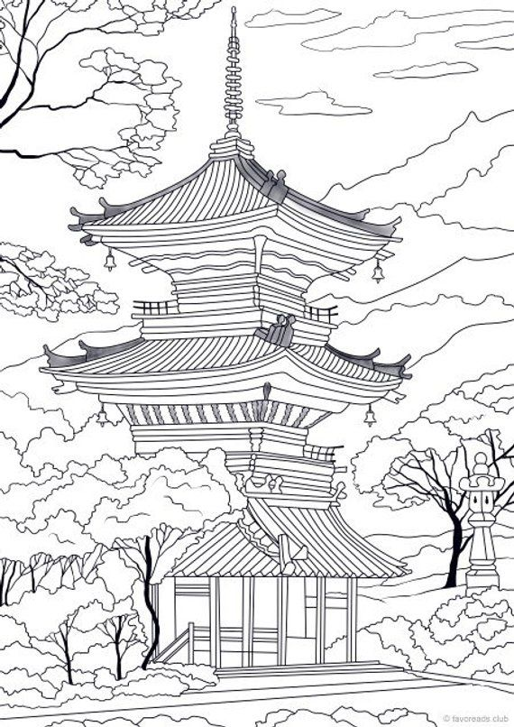 Japanese Temple - Printable Adult Coloring Page from ...