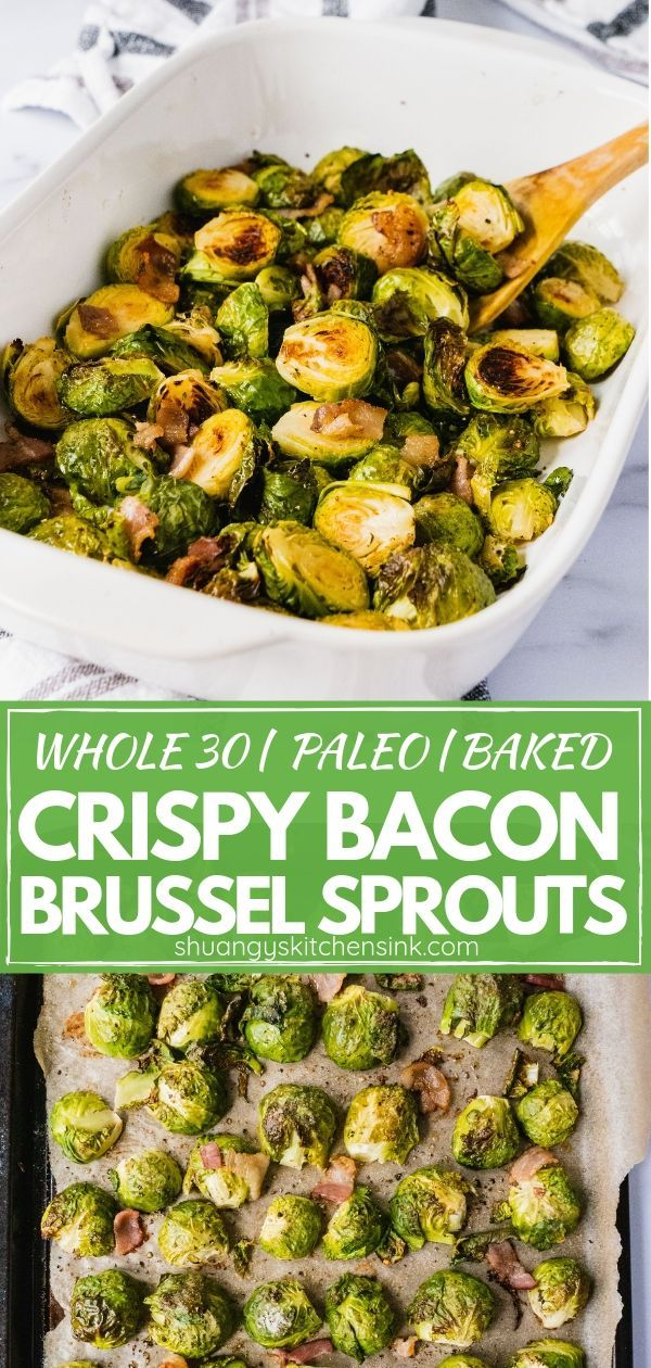 This baked crispy bacon brussels sprouts is so delicious and flavorful. It is simple and easy, also paleo and whole 30 c…