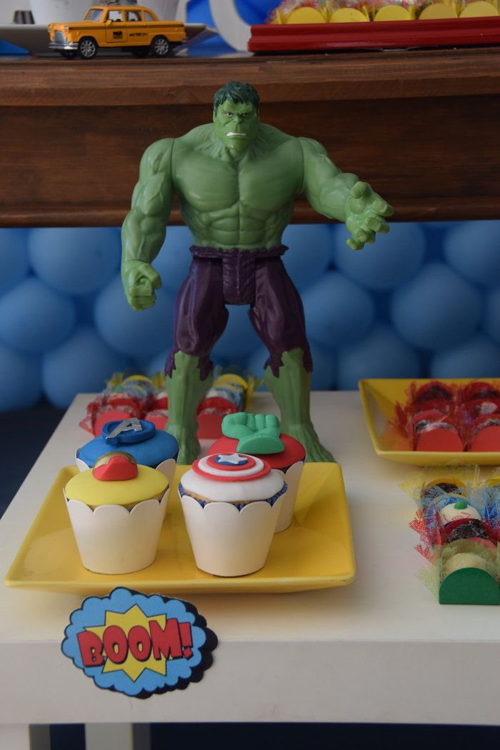 Avengers themed birthday party via Kara's Party Ideas KarasPartyIdeas.com Printables, cake, supplies, cupcakes, banners, and more! #theavengers #avenegersparty #avengerscake #avengerspartyideas (7)