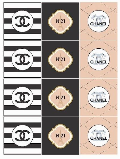Chanel: Free Printable Toppers, Stickers, Bottle Caps or Labels.