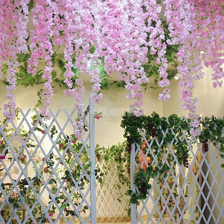 2x Artificial Garland Silk Flower Vine Wedding Party Garden Decoration Pink