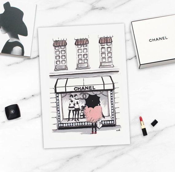 Fashion Illustration Chanel Wall Art Chanel by worksbyannahammer
