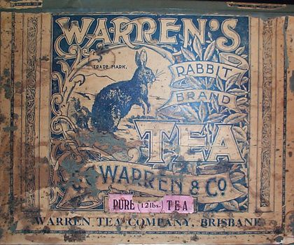 Warren's Rabbit Brand tea tin - paper label c1900. Obviously there is a play on words here, referring to rabbit warrens. Australia experienced a rabbit plague in the late 19th century after they were introduced by the early European settlers.