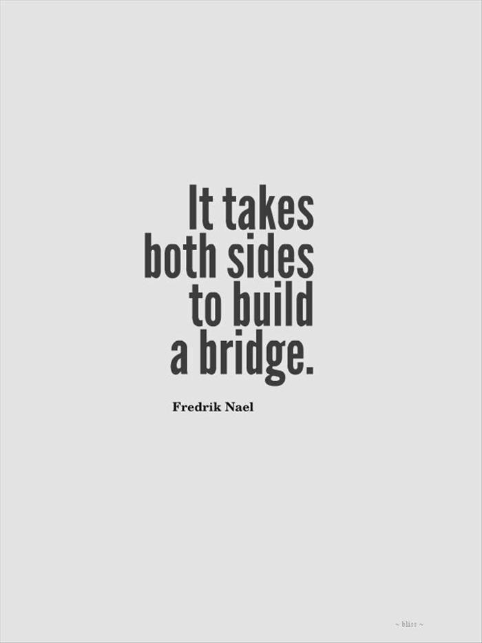 """""""It takes both sides to build a bridge."""" - Fredrik Nael"""