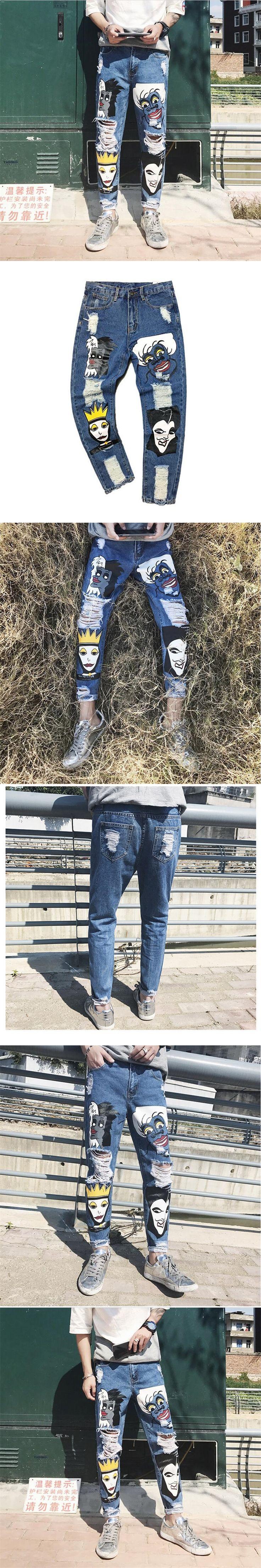 2017 New Men Biker Jeans Retro Vintage Denim Pants Print Slim Fit Tapered Hip Hop Blue Quality Jeans Boys Joggers Pants   A3394