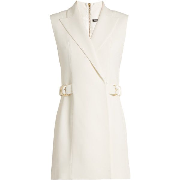 Balmain Ring-detail crepe waistcoat dress ($2,035) ❤ liked on Polyvore featuring dresses, white, crepe fabric dress, crepe dress, balmain, white dress and strappy dress