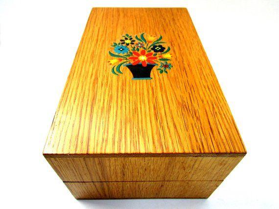 Vintage Wooden Recipe Box Large Index Card Wooden Box Folk Art